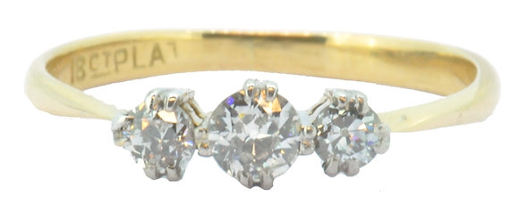 18ct yellow gold and platinum 0.30ct diamond ring front view