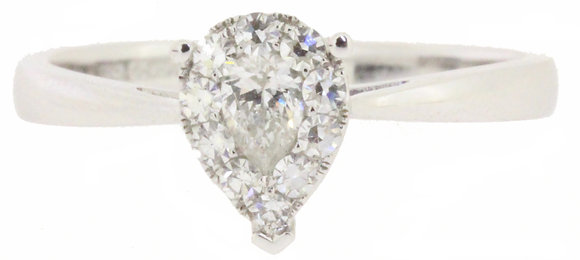 18ct white gold 0.35ct diamond ring front view