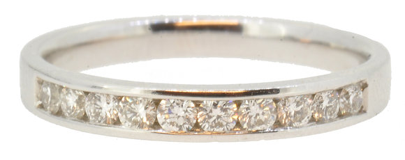 18ct white gold 0.32ct diamond half eternity ring front view