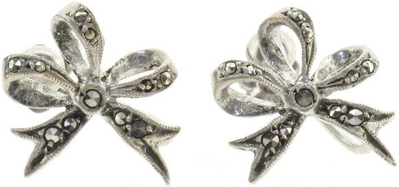 Vintage Silver Bow Screw Earrings