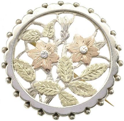 Antique Silver Circular Brooch