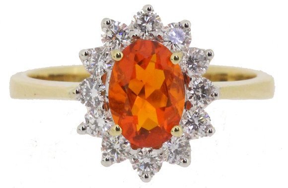 18ct yellow gold fire opal and diamond ring front view