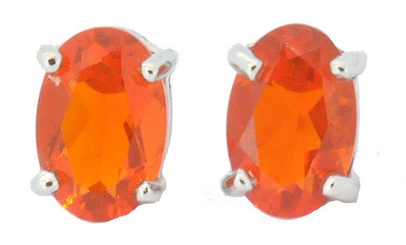9ct white gold fire opal stud earrings