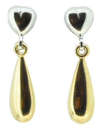 9ct Yellow Gold Two Tone Drop Earrings