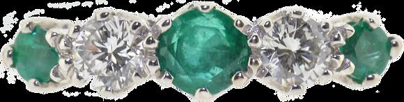 18ct White Gold & Platinum Emerald & Diamond Ring