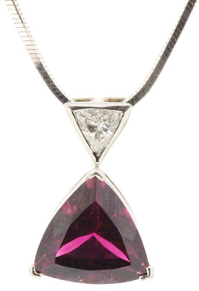 18ct white gold pink tourmaline and diamond necklace