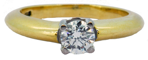 18ct yellow gold 0.50ct diamond ring front view