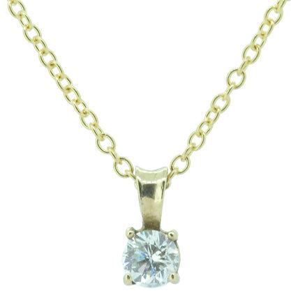Yellow Gold Single Stone 0.20ct Diamond Necklace