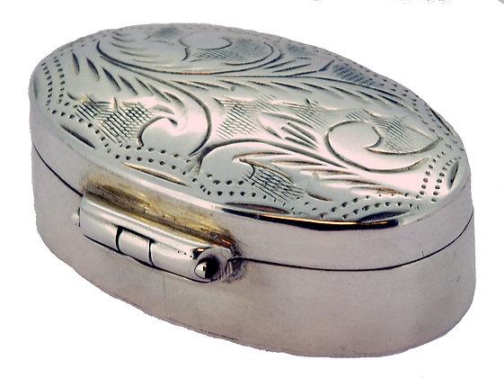 Silver Oval Pill Box