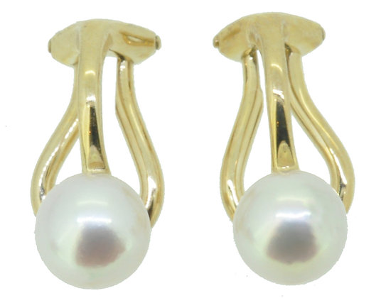 9ct Yellow Gold Pearl Clip On Studs