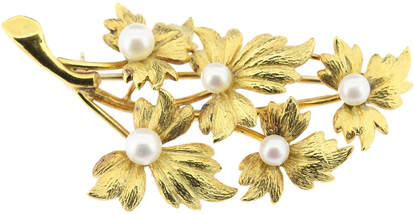 18ct yellow gold pearl set brooch