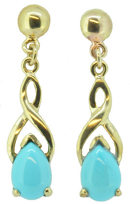9ct yellow gold turquoise drop earrings