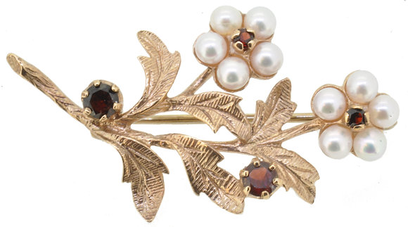 9ct yellow gold garnet and pearl leaf brooch