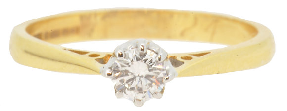 18ct yellow gold 0.25ct diamond single stone ring front view