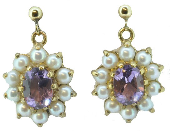 9ct yellow gold amethyst and pearl drop earrings
