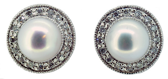 18ct white gold pearl and diamond stud earrings