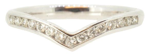 White Gold Diamond Wishbone Ring Front View