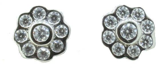 9ct White Gold CZ Flower Studs