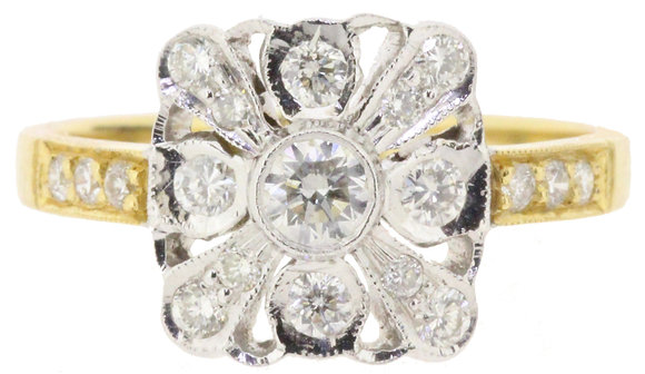 18ct yellow gold 0.58ct diamond ring front view