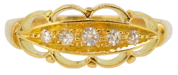 18ct yellow gold fancy 5 stone diamond ring front view
