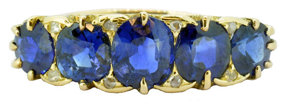 Antique 18ct yellow gold 3.90ct 5 Stone sapphire and diamond ring front view