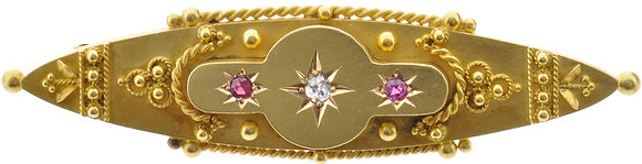 Antique 15ct yellow gold ruby and diamond brooch front view
