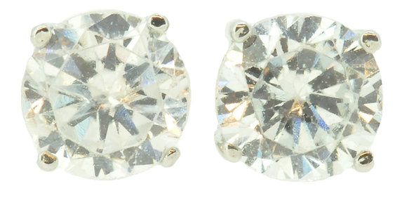9ct White Gold CZ Stud Earrings