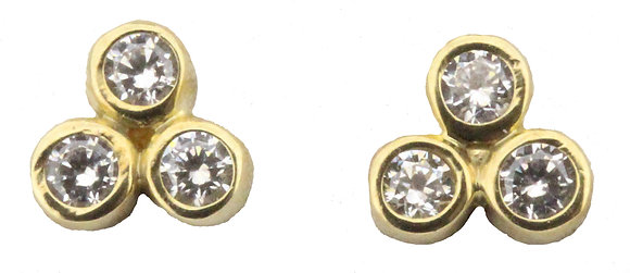 9ct yellow gold CZ 3 stone stud earrings