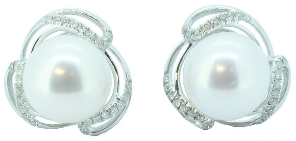 White Gold Pearl and Diamond Stud Earrings