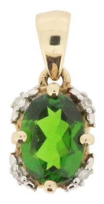 9ct yellow gold Diopside and diamond pendant front view