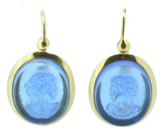 Yellow Gold Blue Stone Cameo Drop Earrings