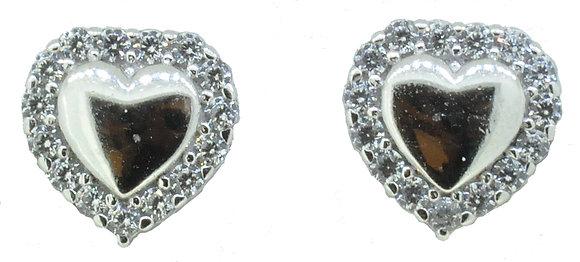 9ct White Gold Heart CZ Stud Earrings