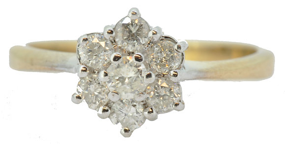 9ct yellow gold diamond cluster ring front view