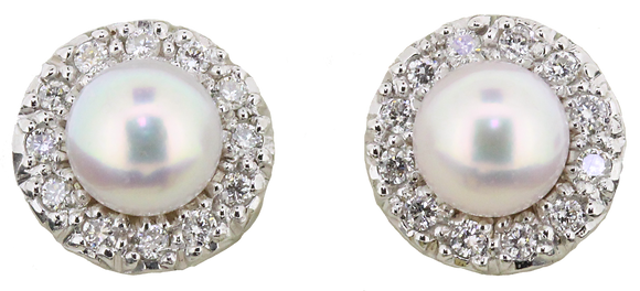 18ct white gold pearl and diamond circle stud earrings
