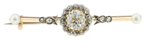 Antique gold diamond and pearl arrow brooch front view
