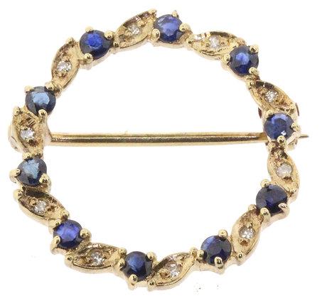 9ct Yellow Gold Sapphire and Diamond Circle Brooch