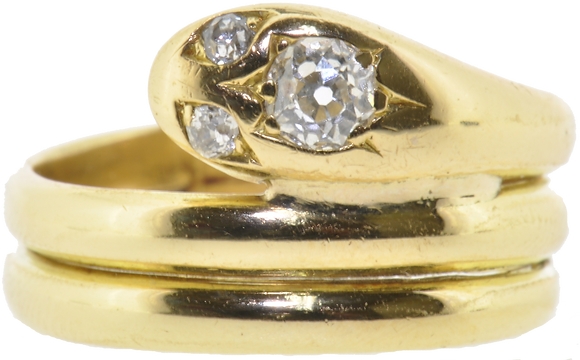 Antique 18ct Gold 0.33ct Diamond Snake Ring