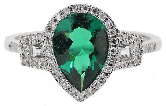18ct White Gold Green Quartz, Zircon & Diamond Ring