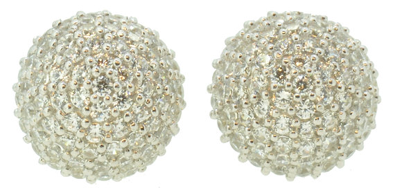 9ct White Gold Domed CZ Studs