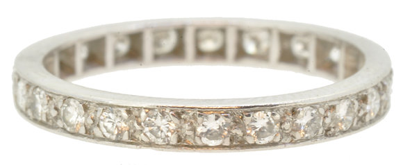 antique 18ct white gold full eternity diamond ring