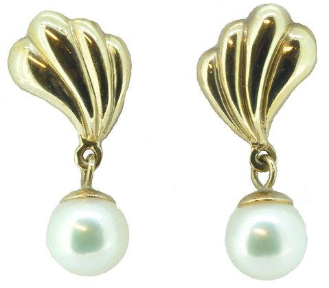 9ct yellow gold pearl earrings