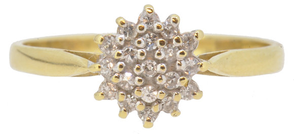 18ct yellow gold 0.15ct diamond cluster ring front view