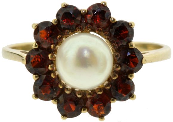 9ct Gold Pearl & Garnet Ring
