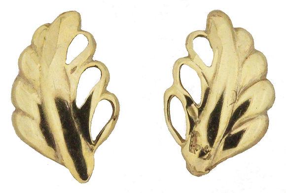 9ct Yellow Gold Leaf Stud Earrings