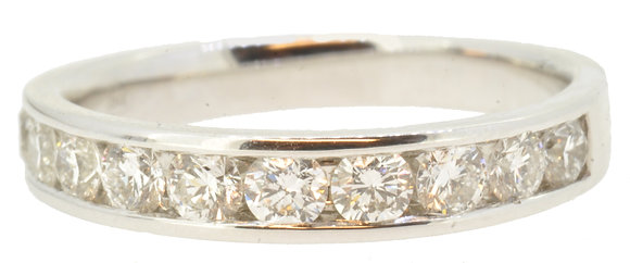 18ct white gold 0.76ct diamond half eternity ring front view