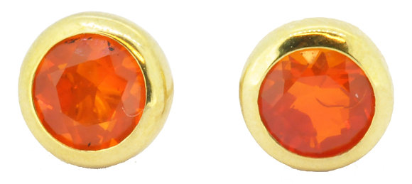 9ct yellow gold faceted fire opal circle stud earrings