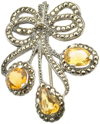 Silver citrine flower brooch front view