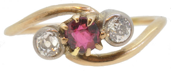 antique 18ct yellow gold ruby and diamond cross-over ring front view