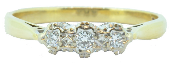 Yellow Gold 3 Stone Diamond Ring Front View