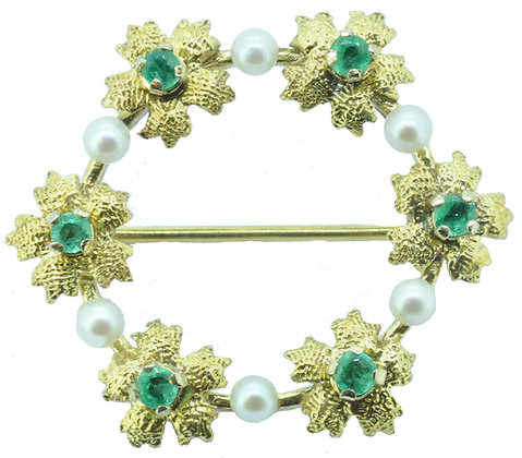 9ct yellow gold emerald and pearl circle brooch